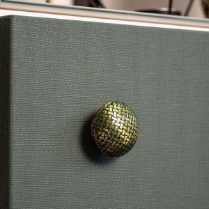 ziggy réz bútorgomb zöld mintával
